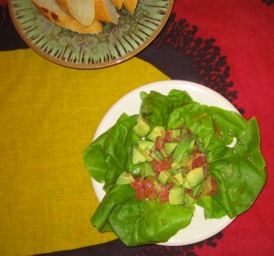 Avocado and grapefruit salad with sage honey dressing (my recipe)