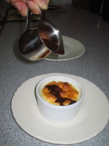 Lemon souffle with chocolate sauce (all sugar free)