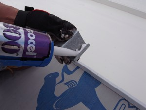 We caulked where the clip fits over the panel and where it sits on the underlayment