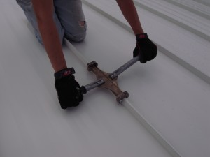 We worked from top to bottom moving the tool a little less than its length after each crimp