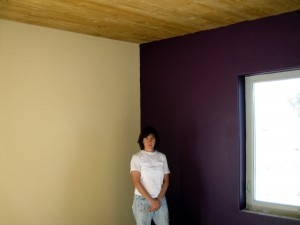 Purple accent wall in the yoga room (aka temp. living room)
