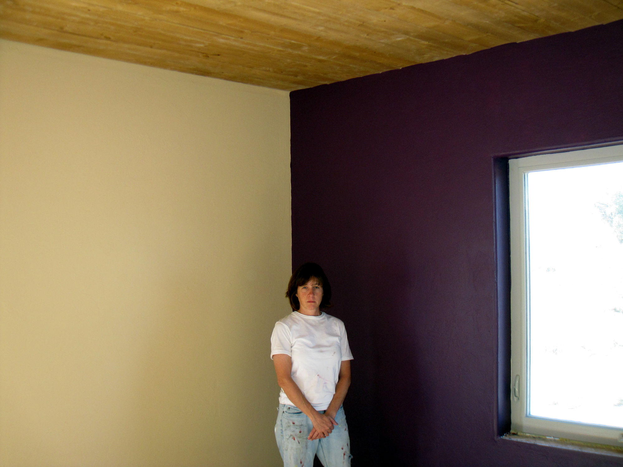 Kb ranch paint Purple accent wall in living room