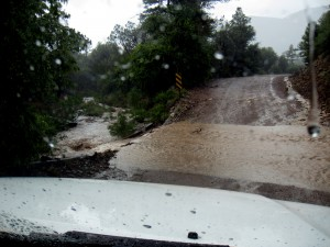 This is from the truck, crossing a stream flowing through the road.