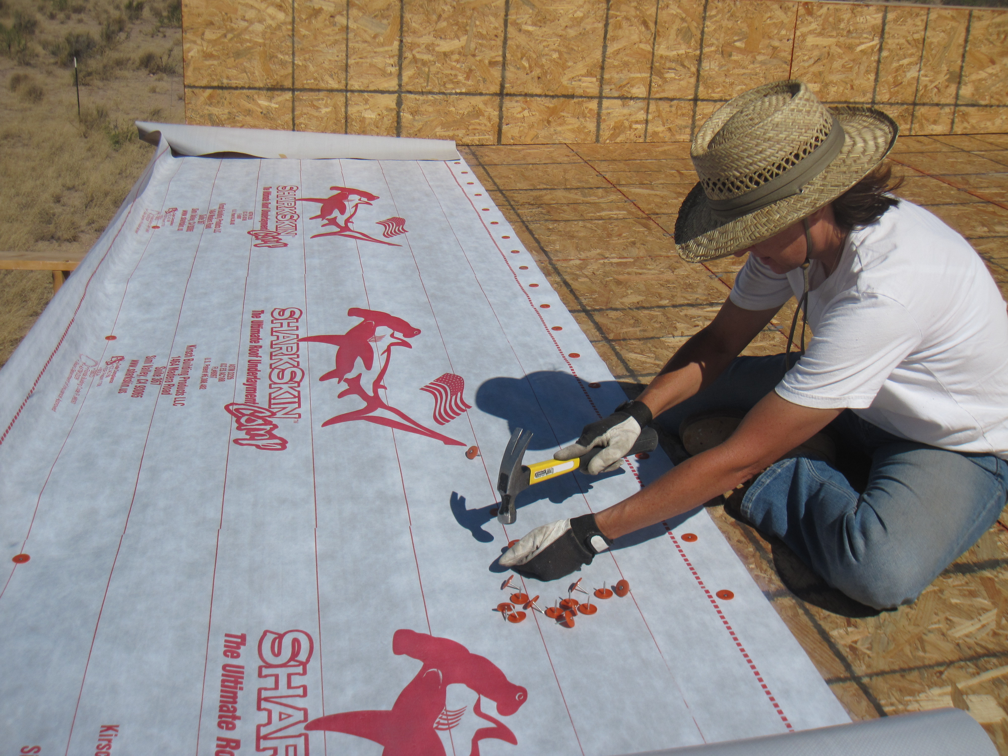 Karen does most of the nailing while I keep the sharkskin tight. & KB Ranch » roof memphite.com